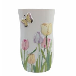 Vintage Small Vase Pastel Tulips Made in Japan